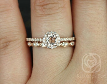 Amanda 5mm & Christie 14kt Rose Gold Round Morganite and Diamonds Halo Wedding Set (Other metals and stone options available)