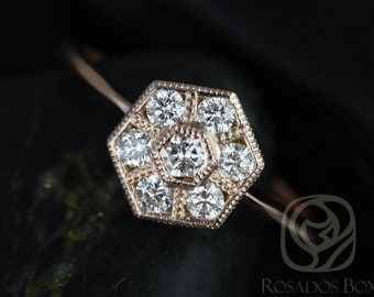 Mosaic 14kt Rose Gold WITH Milgrain Diamonds Cluster Ring (Available in other metals)