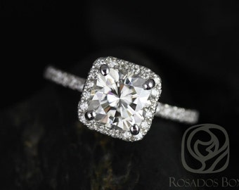 Pernella 7mm 14kt White Gold Cushion F1- Moissanite and Diamonds Halo Engagement Ring (Other metals and stone options available)