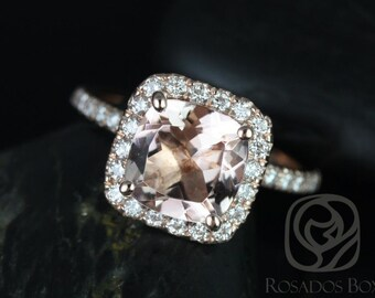 Pernella 8mm 14kt Rose Gold Cushion Morganite and Diamonds Halo Engagement Ring (Other metals and stone options available)