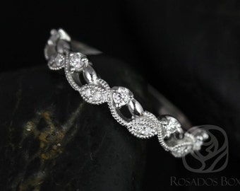 Rosados Box Daphine Platinum Thin Weaving Leaves Diamonds Berries Halfway Eternity Band
