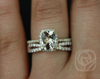 Carrie & Lima 14kt Mixed Gold Rectangle Cushion Halo Morganite and Diamond Wedding Set (Other Center Stone Available Upon Request)