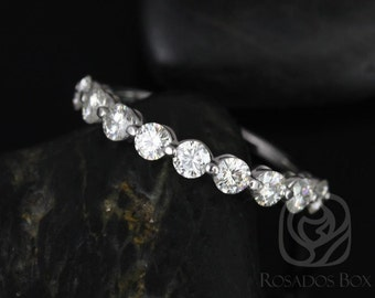 Rosados Box DIAMOND FREE Haylie 3mm Bridged Basket Version 14kt White Gold Swooped Moissanite HALFWAY Eternity Band