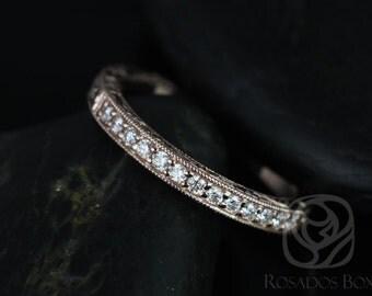 Rosados Box 14kt Rose Gold Matching Band to Aurora Hand Engraved Diamonds HALFWAY Band