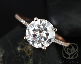 Eloise 9mm Engagement Ring 14kt Rose Gold Round FB Moissanite and Diamonds Cathedral