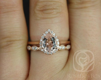 Julie 8x6mm & Christie WITH Milgrain 14kt Rose Gold Pear Morganite and Diamonds Halo Wedding Set (Other metals and stone options available)