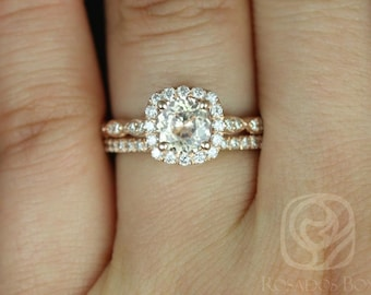 Rosados Box Fluffy Christie 1.19cts & Callie 14kt Rose Gold Peach Sapphire and Diamonds Cushion Halo WITHOUT Milgrain Wedding Set