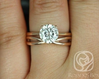 Skinny Flora 8mm & PLAIN Skinny Lima 14kt Rose Gold Round F1- Moissanite Tulip Cathedral Wedding Set (Other metal/stone options available)
