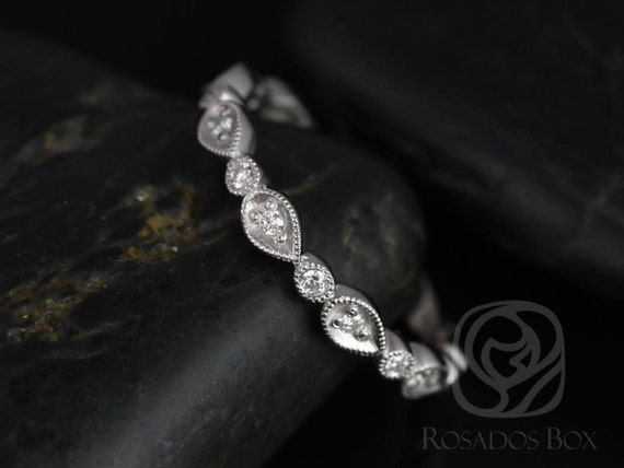 Madeline 14kt White Gold Pear and Bubble Diamonds ALMOST Eternity Band (Other Metals Available)