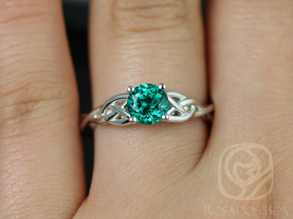 rosados box cassidy 6mm 14kt white gold round emerald celtic