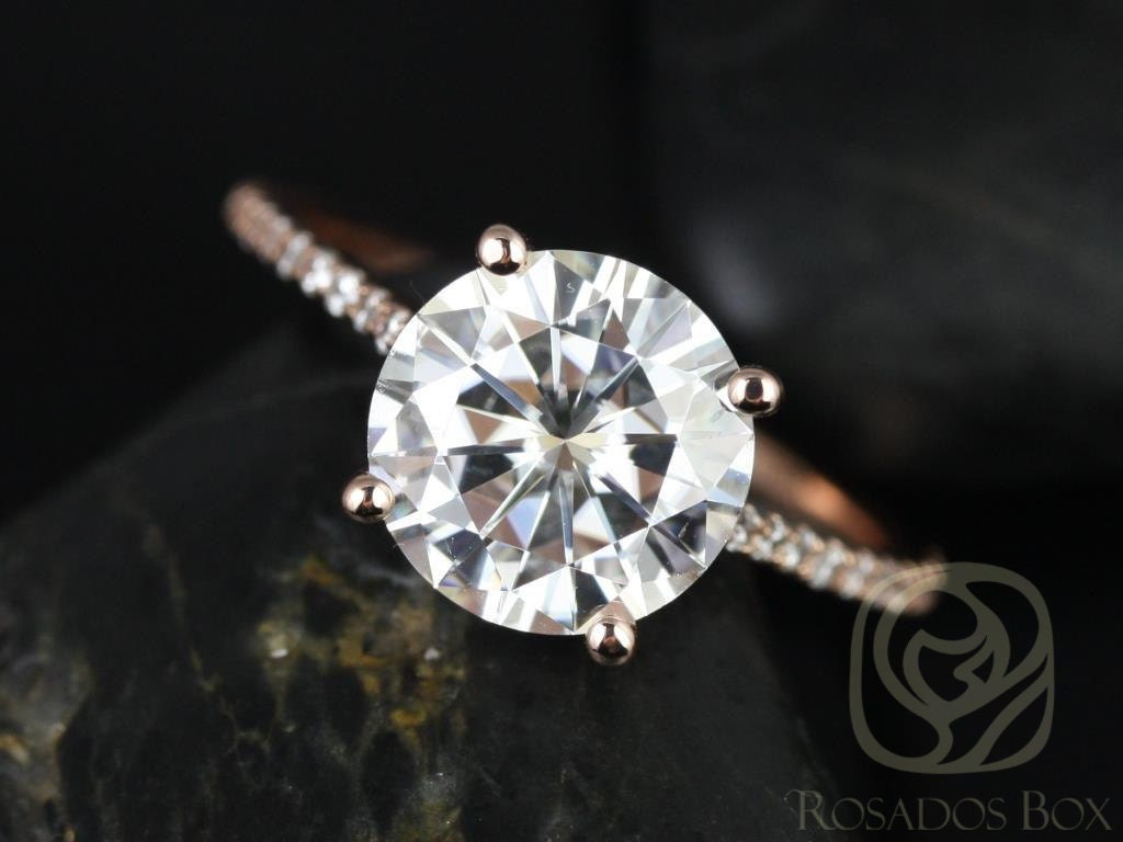 Eloise 9mm Engagement Ring 14kt Rose Gold Round F1 Moissanite And Diamonds  Cathedral