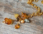 Long lariat necklace Gold chain necklace with amber Murano Venetian glass dangle necklace Everyday business casual office jewelry
