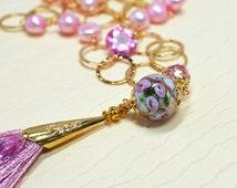 Pink pearl chain necklace Venetian Murano glass bead & Silk tassel pendant Double strand necklace Tassel necklace Layered pearl necklace