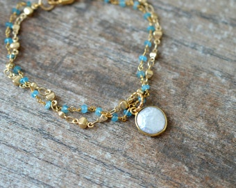 Multi layered pearl drop bracelet Delicate coin pearl bracelet Multistrand blue apatite Tiny gemstone beaded rosary chain bracelet