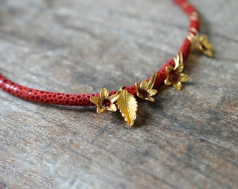 Genuine garnet necklace Hill Tribe gold vermeil flowers on red leather necklace Genuine gem bead necklace January birthstone Luxury jewelry