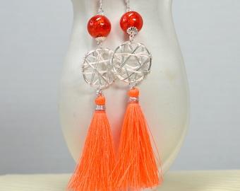 Bohemian tassel earrings Boho chic silver dream catcher earrings Lightweight silk tassel earrings Long dangle earring Bright orange earring