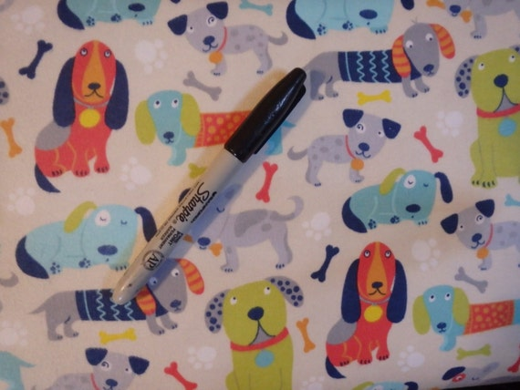 Puppy dog flannel by the half yard dogs puppies for Children s flannel fabric by the yard