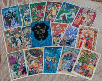 """Vintage postcards USSR. A set of postcards """"Arabian Nights"""" (Thousand and One Nights) """" (16 postcards). Illustrations by A.Melihov. 1979"""