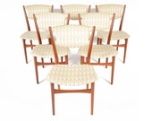 Set of Six Mid Century Danish Modern Teak Finn Juhl Style Dining Chairs