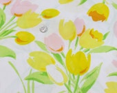 Vintage Twin Flat Percale Sheet by JP Stevens, Yellow Pink Orange Green Tulips Motif, Dated 1976, Quilting Crafting Fabric