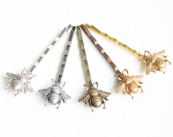 Adorable Honey Bee Hair Clips Bobby Pins Silver or Gold or Antique Brass