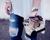 Clutch, Leather Clutch Wristlet, Antler, Acid Washed Calf Purse, Handbag