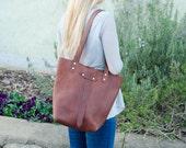 Leather Tote Handbag, Cognac Copper Oil Tanned Leather Purse