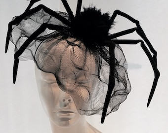 Spider Headband- Black Widow Headband- Spider Costume- Spider Fascinator- Birdcage net -Halloween Fascinator- Halloween costume- Halloween