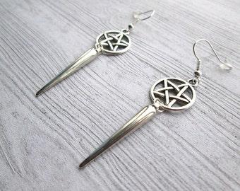 Pentacle Earrings, Pagan earrings, Pentagram earrings, Wiccan earrings, Wicca earrings, Witch earrings, Gothic witch earrings, witch earring