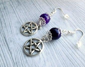 Wiccan earrings, Purple Agate Earrings, Pentacle Earrings, Pagan earrings, Wicca earrings, PAgan jewelry, Wiccan jewelry, Pentagram earrings