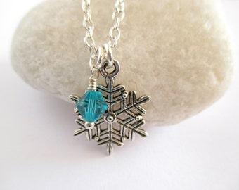 Snowflake Necklace, Snowflake Jewellery, Snowflake Bridal, Snowflake Necklace Silver, Snowflake Gifts, Birthstone Necklace