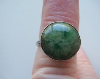 Jadeite Cabochon and Silver Ring