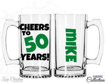 Cheers to 50 years - 50th birthday gift for men - 50th birthday men- Beer mug - 50th birthday gift ideas - 50th anniversary gifts