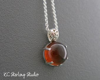 Natural Sumatra amber and sterling silver pendant necklace - silversmith metalsmith