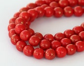 Gold Marbled Opaque Red Luster Czech Glass Beads, 6mm Round - 50 pcs - eGM93180-6r