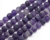 Frosted Amethyst Beads, Medium Purple, 10mm Round - eGR-AM004-10