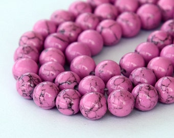 Magnesite Beads, Orchid Pink, 8mm Round - 15 inch Strand - eGR-MG017-8