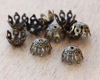 20 Pcs Bead Caps, Antique Brass, 9mm Filigree Gothic - eBCB007-AB