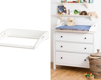 Designer wrapping attachment with handles for IKEA HEMNES chest of drawers / white