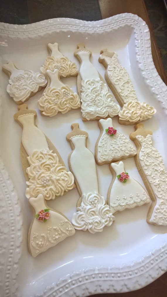 Ecru and White Wedding Entourage Dress Cookies- 10  Bridal Shower Cookies, Wedding Giveaway, Winter Wedding, Bridesmaid Gifts