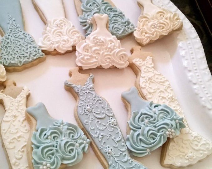 10 Blue and White Wedding Entourage Dress Cookies