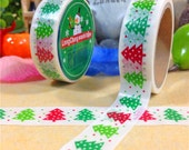 Christmas Theme, christmas tree,  DIY Scrapbbok Japanese Paper Adhesive Tape, Washi tape, Colorful, 15mm, 5m/roll