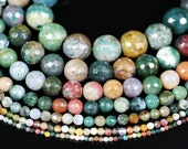 Natural Indian Agate Gemstones 6mm 8mm 10mm 12mm Faceted Round Spacer Loose Beads 15'' Strand for Jewelry Making Crafts