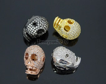 Clear Zircon Gemstones Pave Four Holes Skull Bracelet Connector Charm Beads Silver Gold Rose Gold Gunmetal