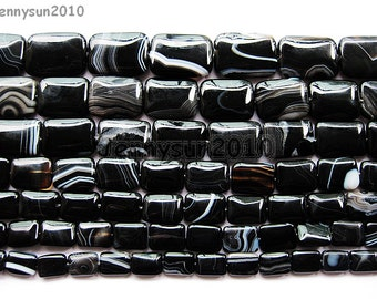 Natural Black with Stripe Onyx Gemstones Rectangle Loose Beads 16'' Strand Great For Jewelry Design