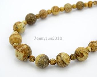 Handmade Natural Picture Jasper Gemstone Beads 4~12mm Graduated Adjustable Necklace Healing Jewelry Making