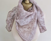 Silk CHIFFON scarf, vintage designer scarves, Anita Pineault scarf, 1960s scarf, large chiffon square, mushroom beige, greige chiffon