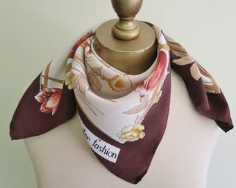vintage silk scarf, floral scarf, 1970s fashion, 70s silk scarf, Jupiter fashion, brown floral scarves, vintage headscarf, square scarves