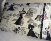 """Halloween Pillowcase with a Witch Family in Black, Gray and Pink - 1 Standard Size Pillowcase - """"Bewitching Bedtime"""""""