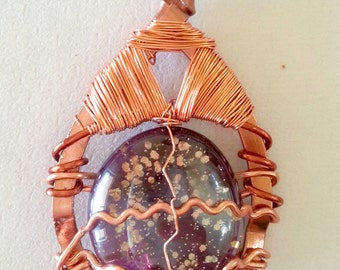 Abstract copper wire pendant with glass gem